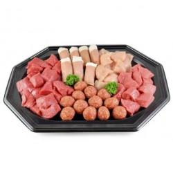 Fondeu schotel, 6 vlees soorten