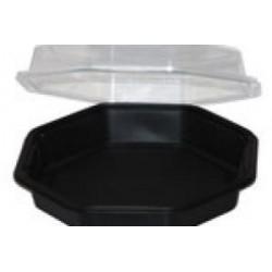 Plastic zwarte bakken met deksel 2,5 liter